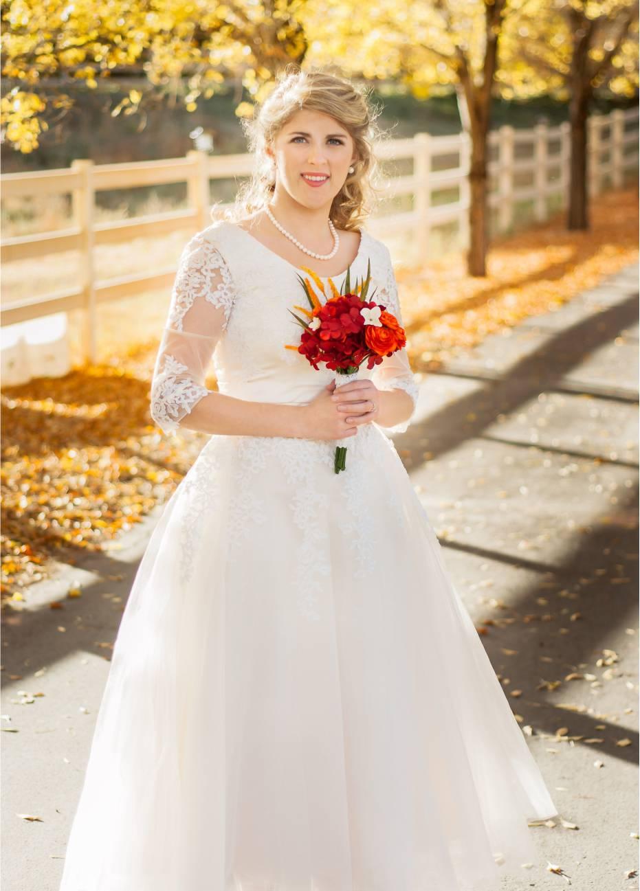 Bride Emily in custom-made wedding dress