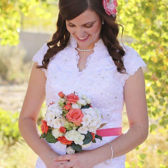 Bride Alexia in custom-made wedding dress
