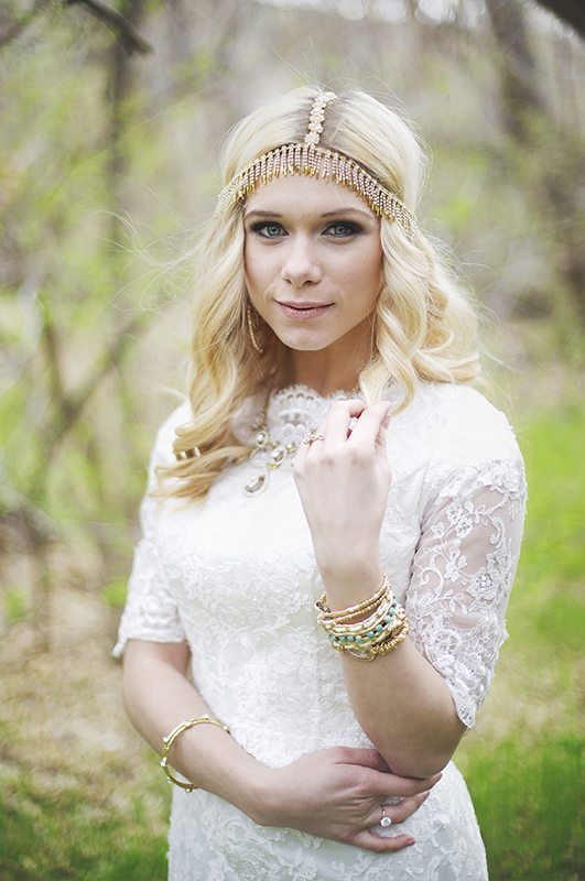 Bride Alexandra in Affordable Bohemian Hippie Style custom-made wedding dress