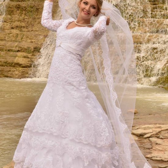 Bride Elena in custom-made wedding dress