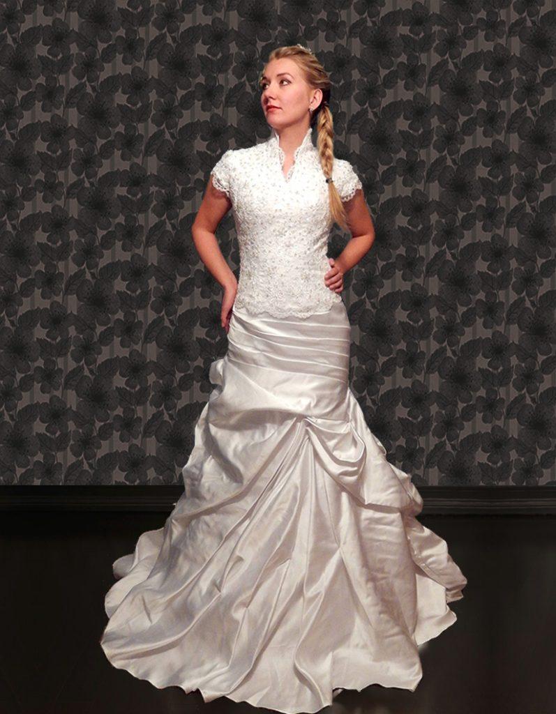 Bride Maggie in custom-made wedding dress