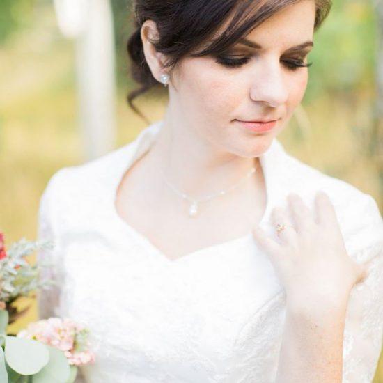 Bride Alexandra Ann in custom-made wedding dress