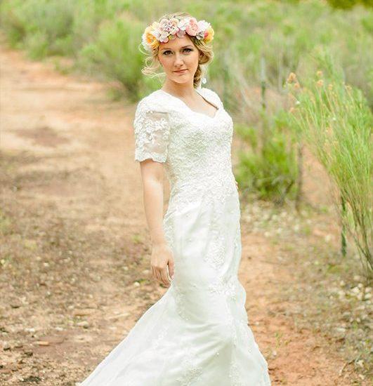 Bride Elle in custom-made wedding dress