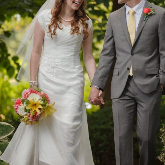 Bride Christina in custom-made wedding dress