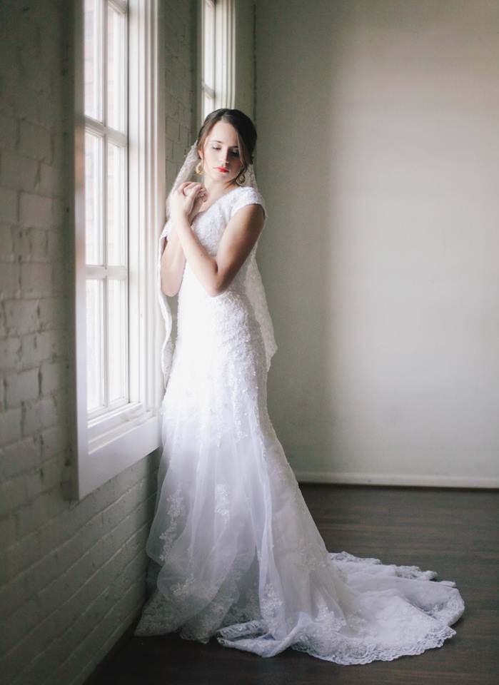 Bride Melina in custom-made wedding dress