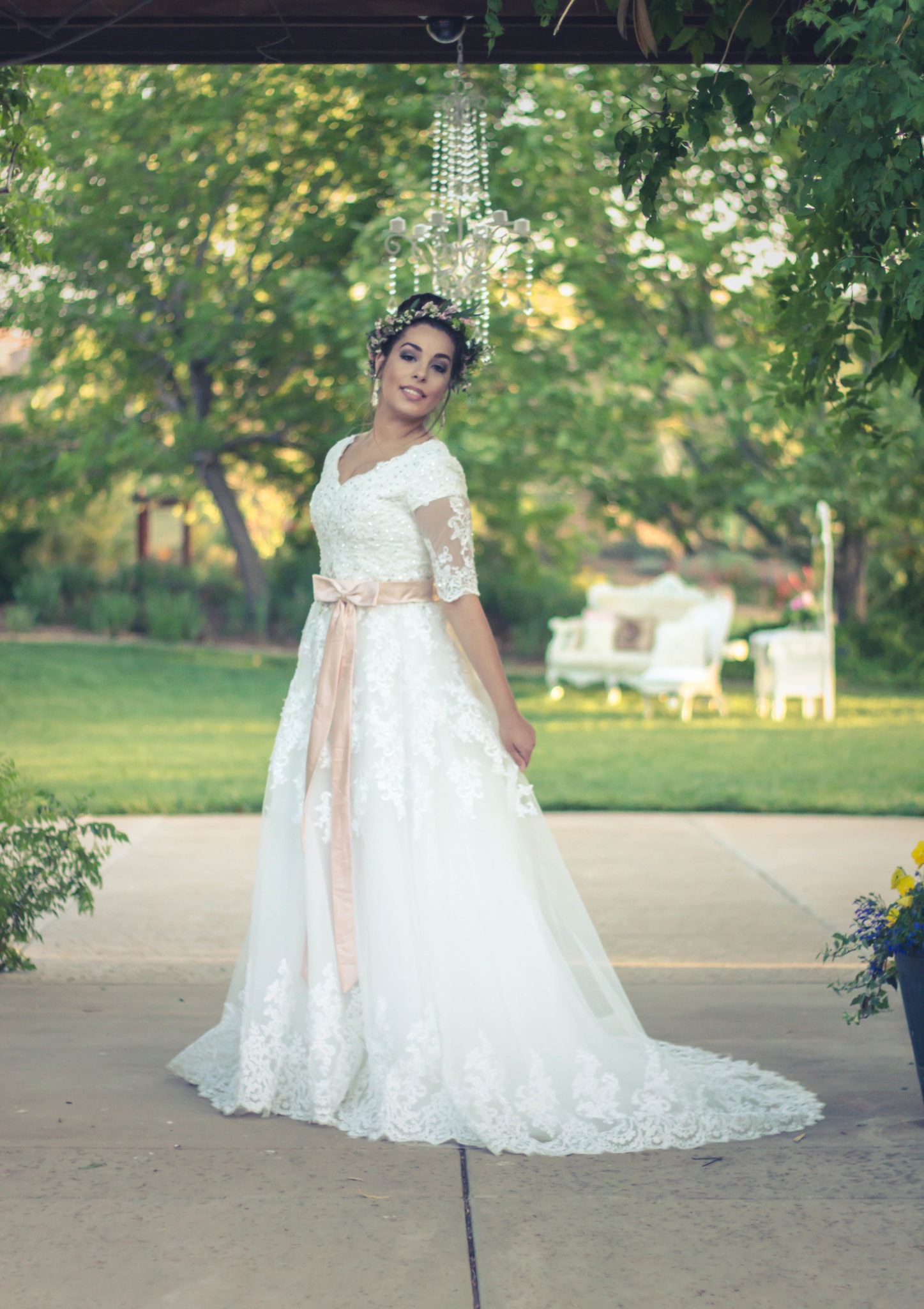 Bride Brittney Ann in custom-made wedding Dress