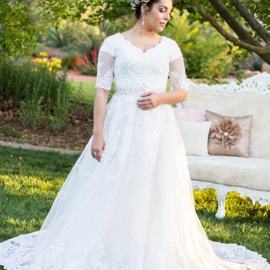 Bride Brittney in custom-made Wedding Dress
