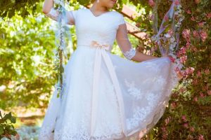 Bride Stephanie in custom-made wedding dress