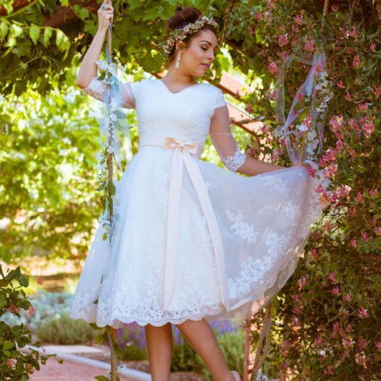 Bride Stephanie in custom-made wedding dress