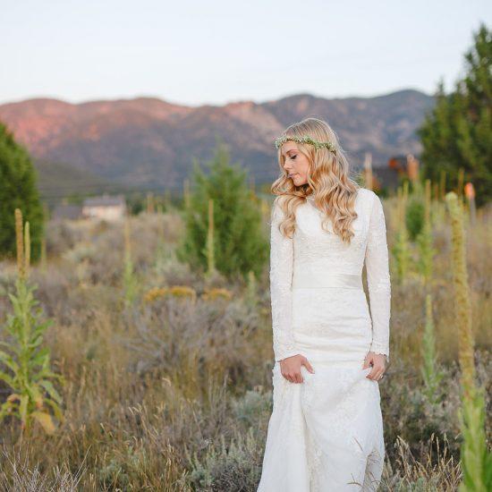 Bride Chelsea in Affordable custom-made wedding dress