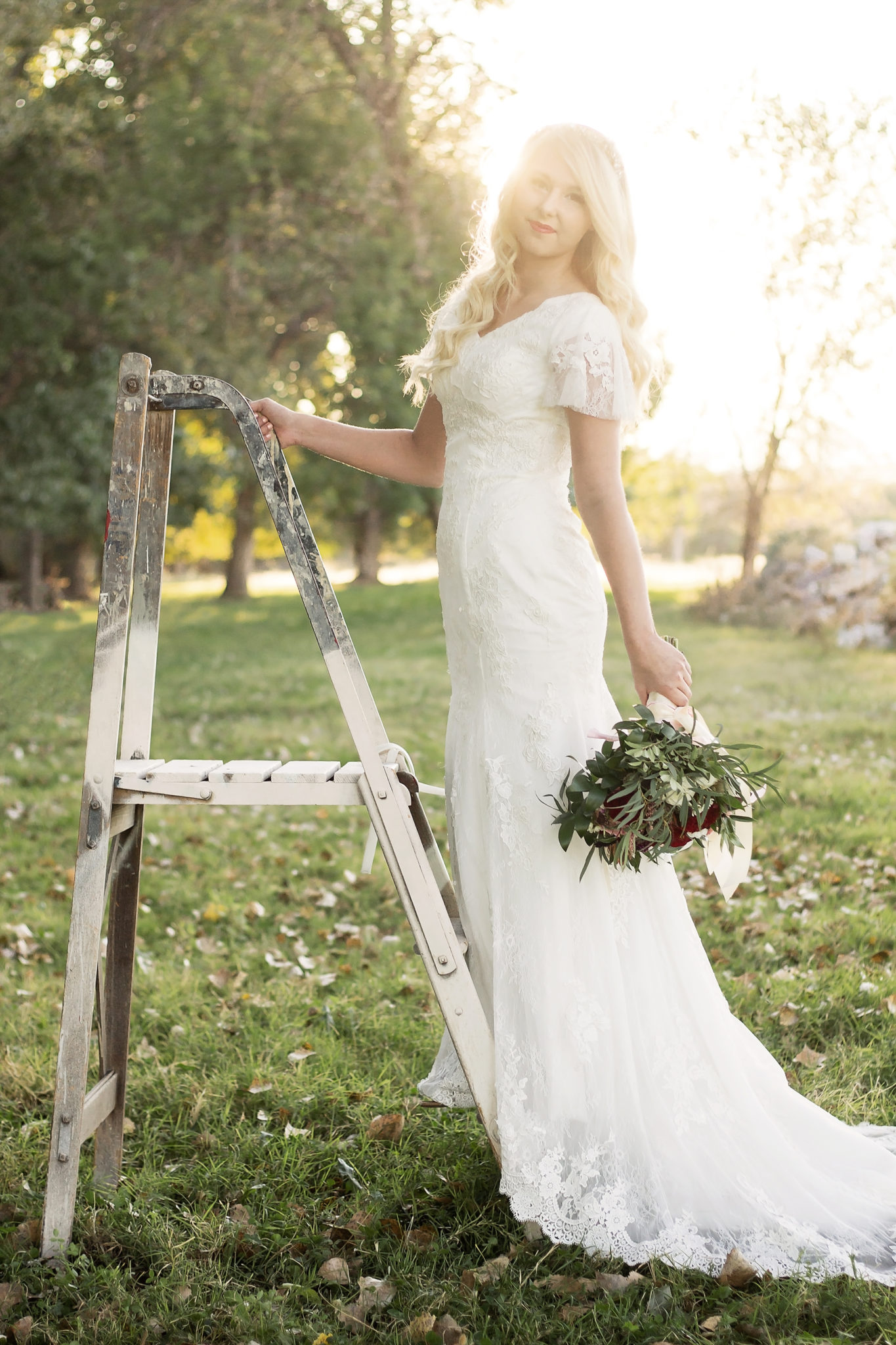 Bride Tiffany in custom-made wedding dress
