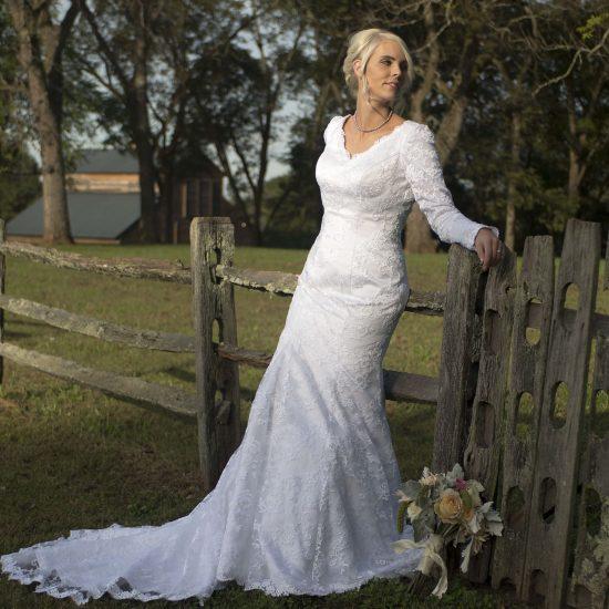 Bride Michelle in custom-made wedding dress