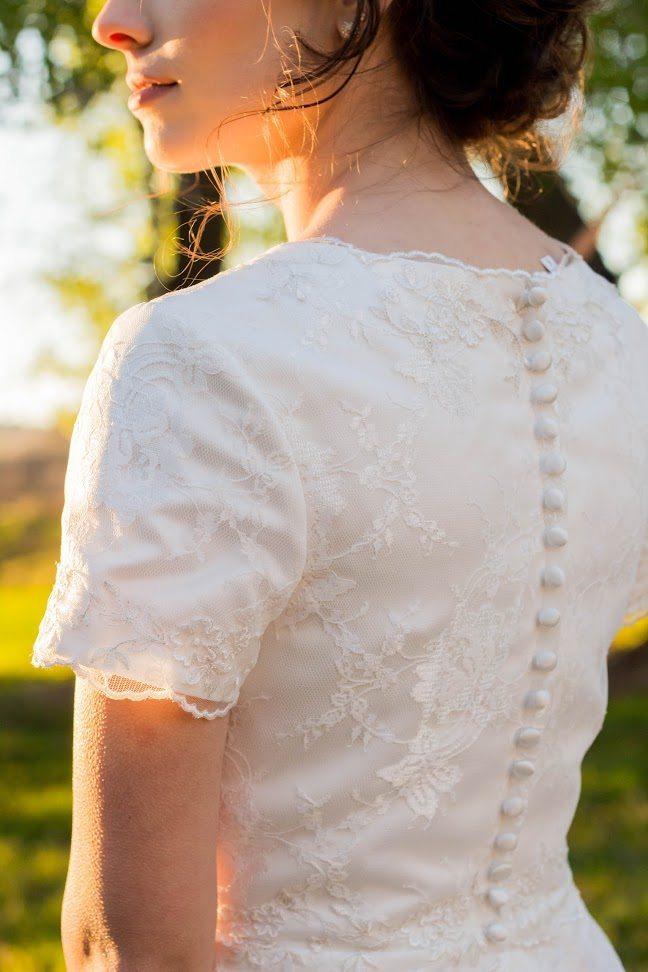 Bride Anna in modest custom-made wedding dress