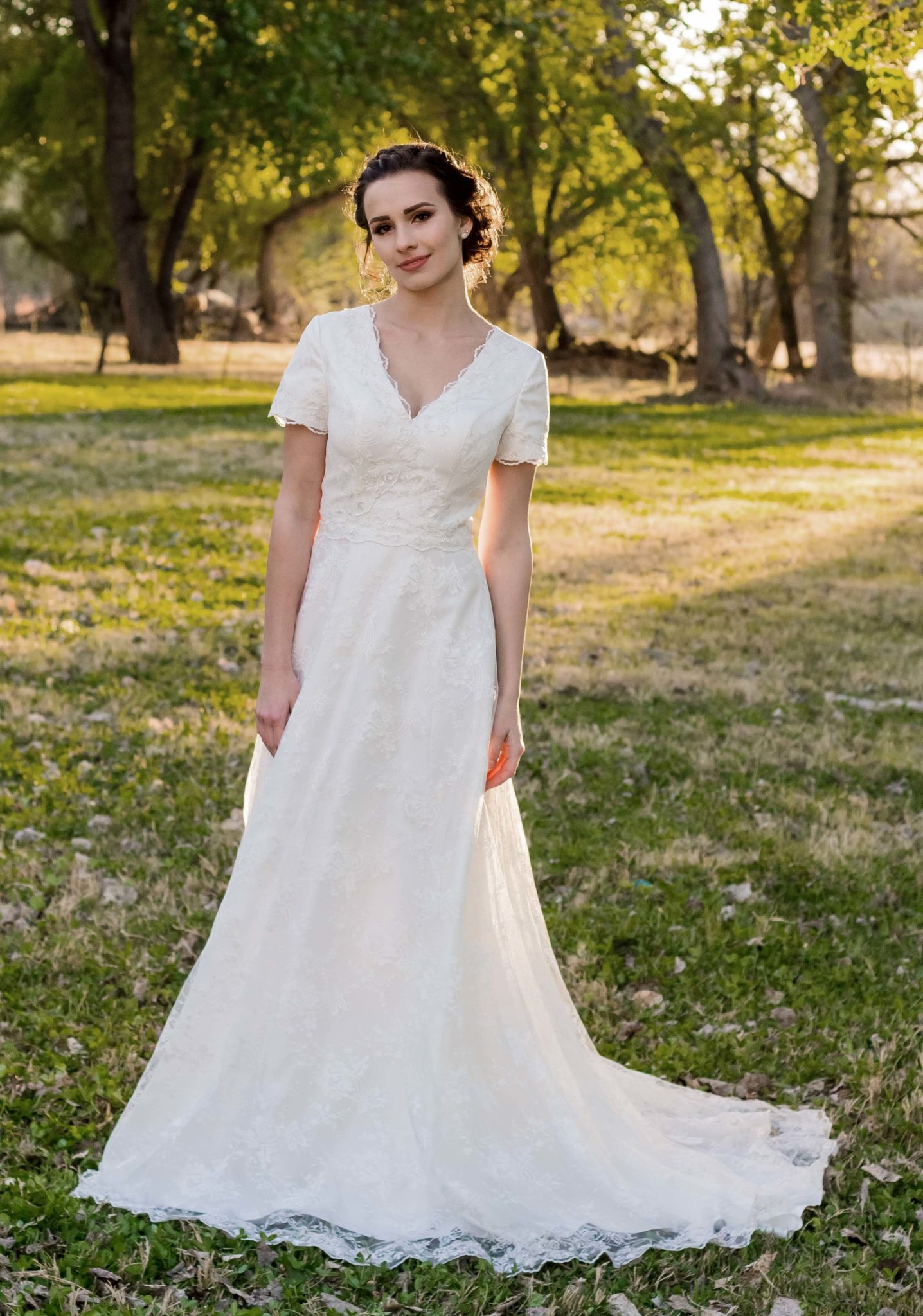 Bride Anna in Modest Affordable custom-made wedding dress